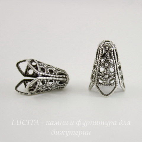 Винтажный декоративный элемент - шапочка - конус 16х13 мм (оксид серебра) ()