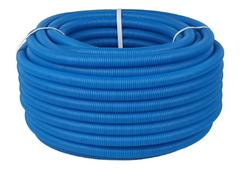 Труба гофрированная ПНД, цвет синий, наружным диаметром 25 мм для труб диаметром 16-22 мм