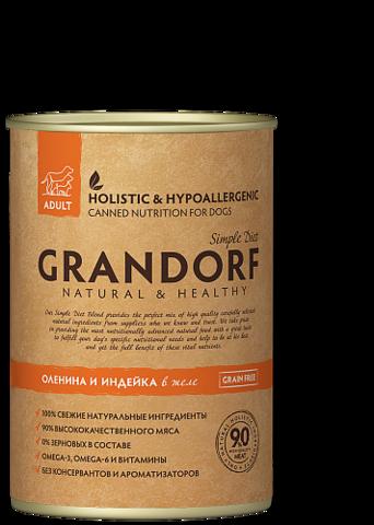 Grandorf консервы для собак оленина и индейка 400г