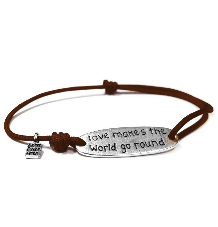 Love makes the world go round bracelet, sterling silver