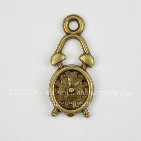 "Подвеска ""Будильник"" (цвет - античная бронза) 19х8 мм"
