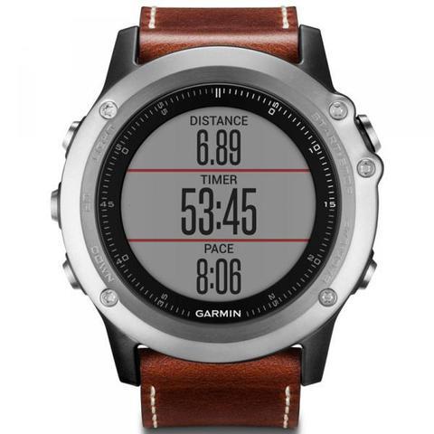 Купить Наручные часы Garmin Fenix 3 Sapphire серебристые с кожаным ремешком (без датчика) 010-01338-62 по доступной цене