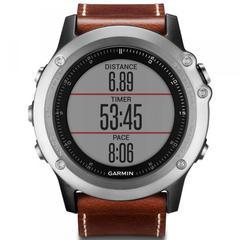 Наручные часы Garmin Fenix 3 Sapphire серебристые с кожаным ремешком (без датчика) 010-01338-62