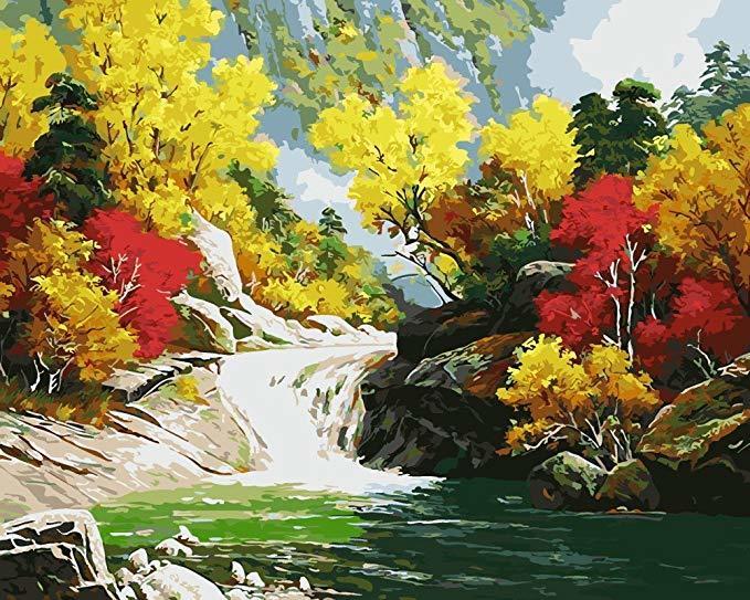 Картина раскраска по номерам 40x50 Небольшой водопад в ...