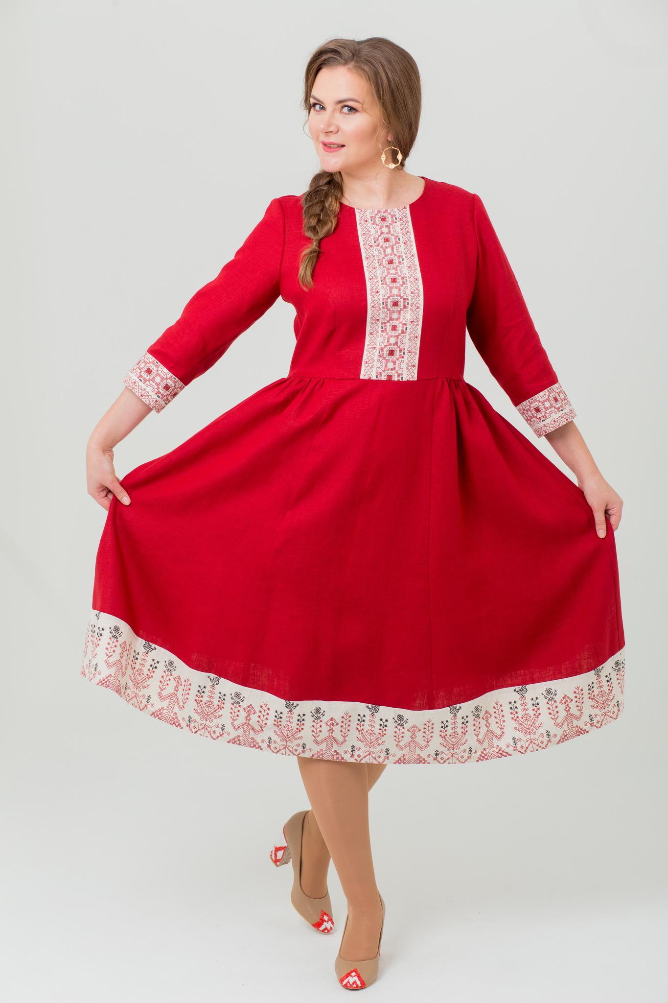 Платье миди из льна Вишнёвый сад