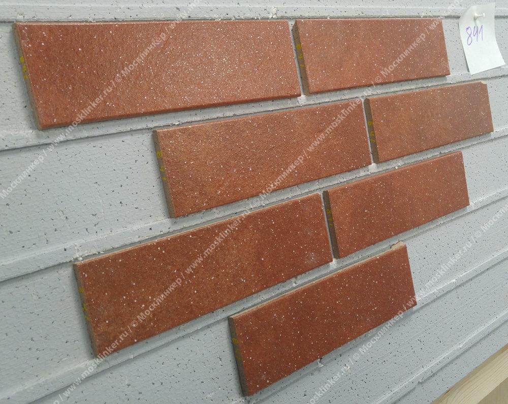 Stroeher, плитка-клинкер под кирпич, цвет 841 rosso, серия Keravette shine, glasiert, глазурованная, гладкая, 240x71x8