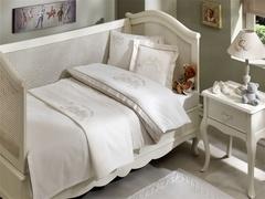 НАБОР ЯСЛИ: Детское  постельное белье с пледом  FAMILY BEBE бежевый deluxe TIVOLYO HOME Турция