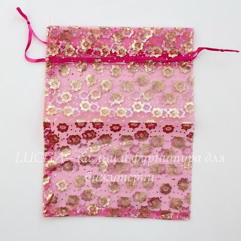 """Подарочный мешочек из органзы """"Цветочки"""", цвет - фуксия с золотом, 20х14 см"""
