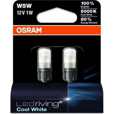 Лампа светодиодная Osram W5W 6000K Cool White 12V-1W 2 pcs set universal 12v 20w 3 0inch car angel eye fog light cob led projector halo ring drl driving bulbs 6000k xenon white