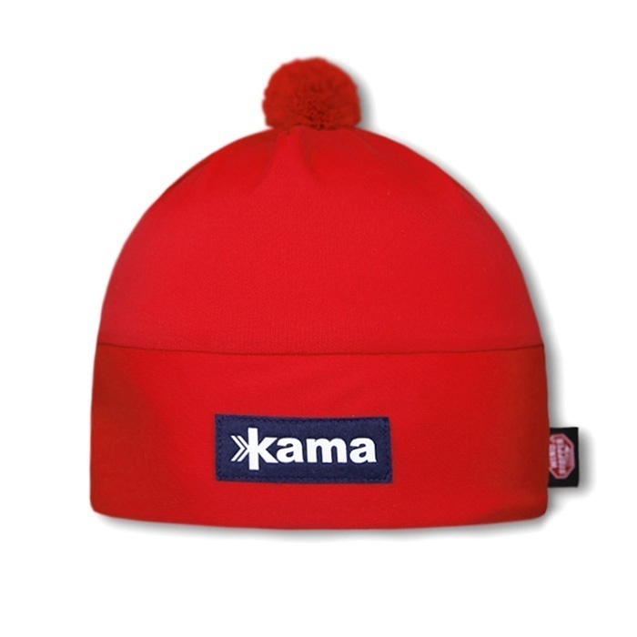 Спортивные шапки Шапка с помпоном непродуваемая Kama Aw45 Red kama-x-country-hat-aw45-windstopper-default__5_.jpg
