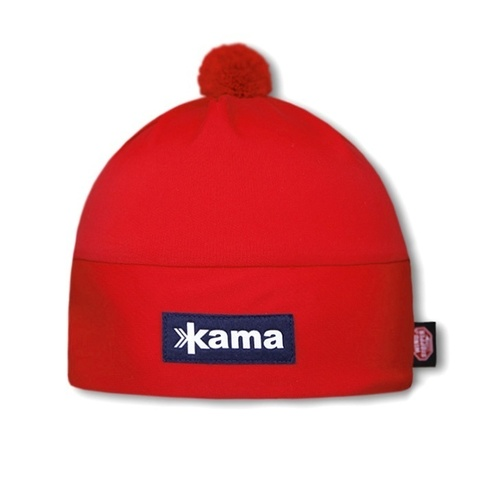 Шапка с помпоном непродуваемая Kama Aw45 Red
