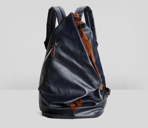 Городской мужской рюкзак из кожи синего цвета