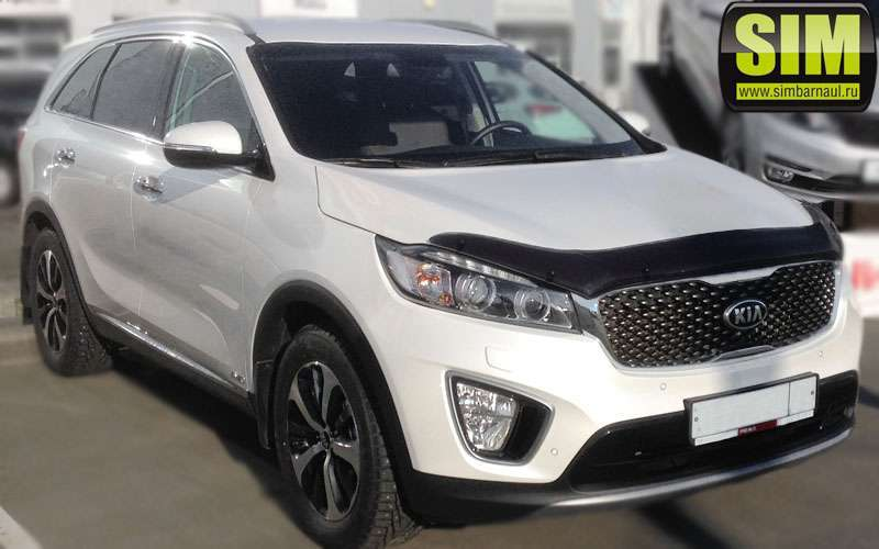 Дефлектор капота SIM для Kia Sorento III Prime 2015 - free shipping 12v 6000k led drl daytime running light for kia sorento 2015 2016 fog lamp frame fog light car styling