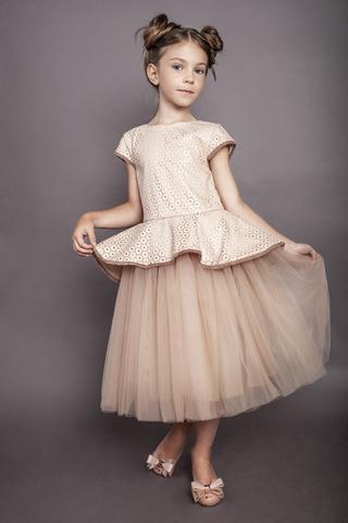 Платье из эко-кожи с фатином