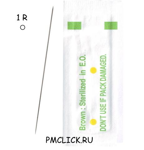 1R иглы для татуажа  BROWN -1 упаковка 10 шт.
