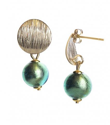Серьги 2019 Perla Metallo Rotondo Grande Light Emerald Gold