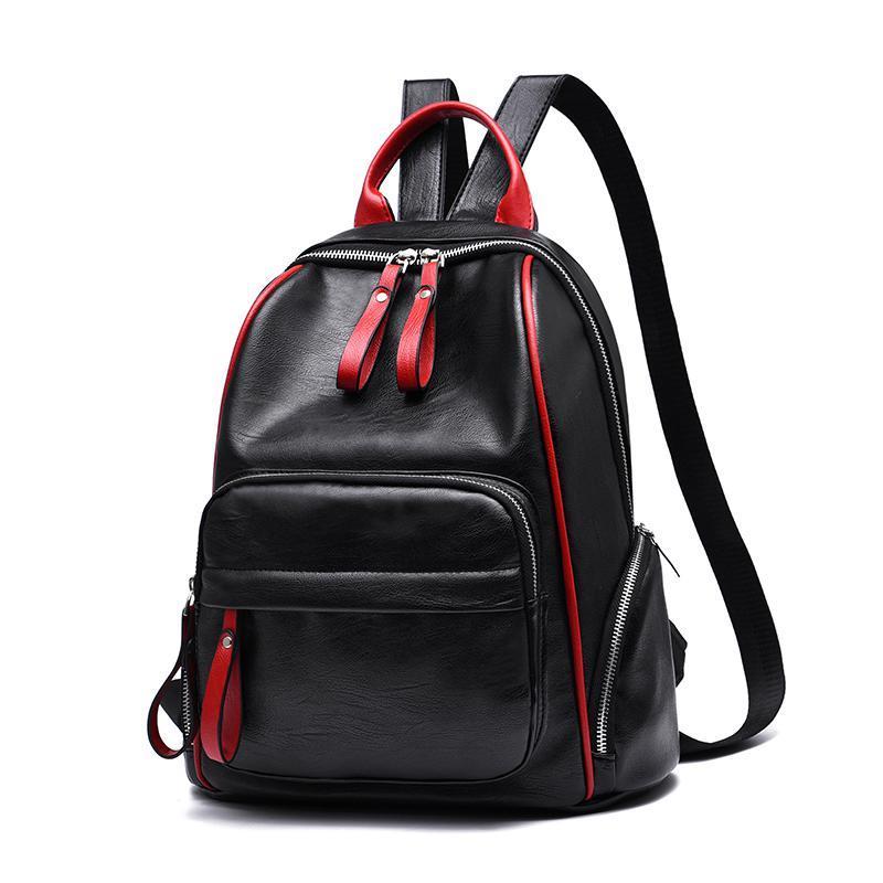 Женский большой рюкзак 32х37х16 см чёрный с красным 9240-2