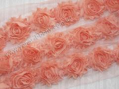 Шифоновые шебби-розы лососевые  диаметр 6 см