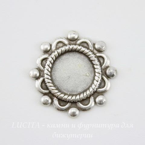 """Сеттинг - основа """"Цветок"""" для камеи или кабошона 7 мм (оксид серебра) (светлые)"""