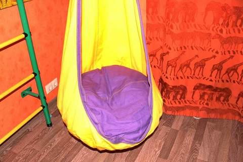 Детское кресло-гамак Кокон (желто-фиолетовый)