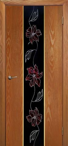 Дверь Дубрава Сибирь Гранд-Маки, стекло с рисунком/молдинг золото, цвет миланский орех, остекленная