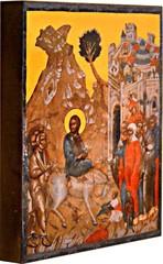 Вход Господень в Иерусалим . Копия иконы XV века на доске.