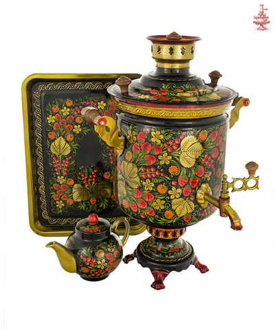 Самовар «Хохлома» угольный формой банка 7л в наборе с подносом и чайником