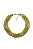 Бисерное ожерелье из 48 нитей зелено-золотистое