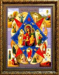 Неопалимая Купина. Икона Божьей Матери на холсте.