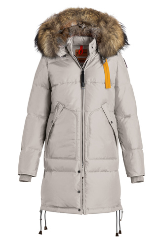 Пальто жен Parajumpers LONG BEAR 773 серое, капюшон енот