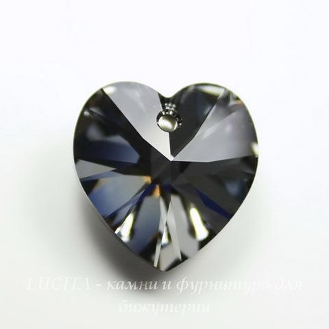 6228 Подвеска Сваровски Сердечко Crystal Silver Night (10,3х10 мм)