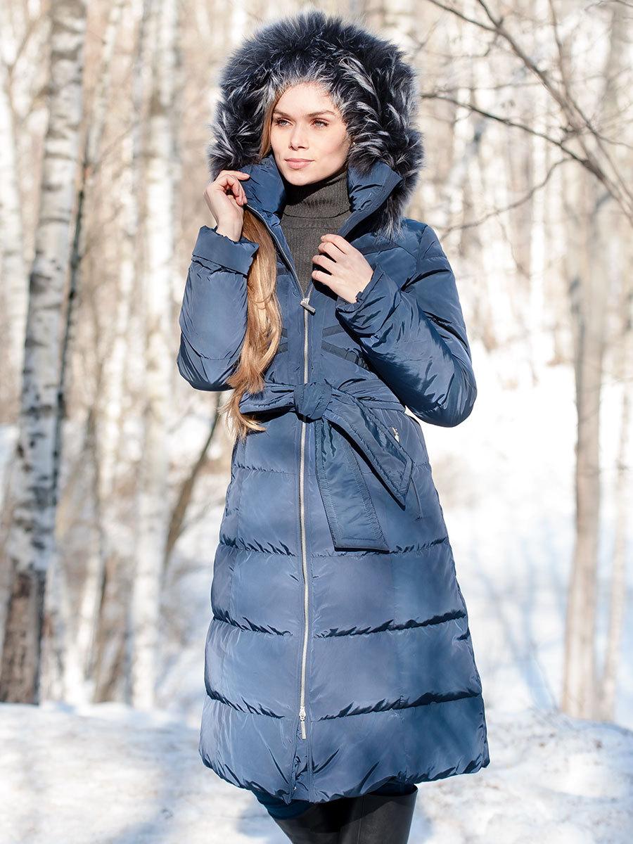 Joutsen пуховик Sissy с мехом темно-синий - Фото 1