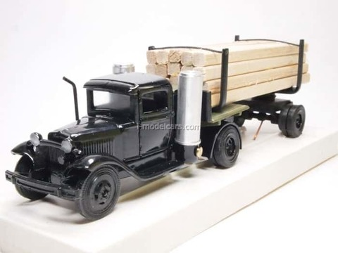 GAZ-42 Timber trailers with beam black LOMO-AVM 1:43