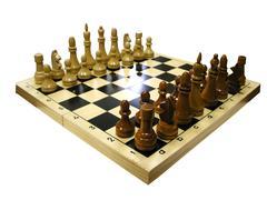 Шахматы: доска+фигуры  (гроссмейстерские деревянные шахматы с доской в коробке)
