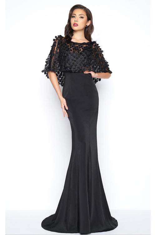 Mac Duggal 16212 Длинное, облегающее фигуру, платье с элегантной накидкой и шлейфом,цвет:черный