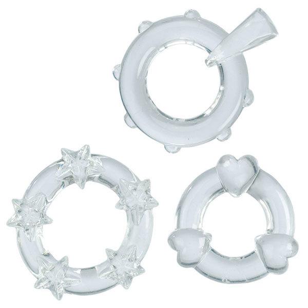 Эрекционные кольца: 3 прозрачных эрекционных колечка MAGIC C-RINGS