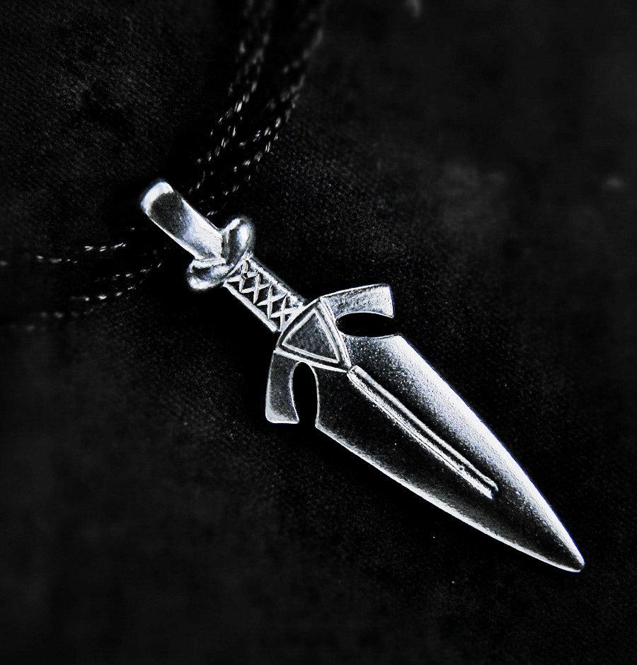 Sword pendant, sterling silver,