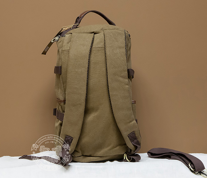 BAG368-2 Вместительная мужская тканевая сумка - рюкзак с ремнем на плечо фото 04