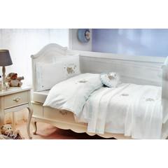 НАБОР ЯСЛИ Детское  постельное белье с пледом  FISHY BEBE голубой deluxe TIVOLYO HOME Турция