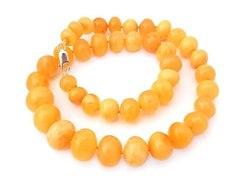 Бусы из натурального янтаря цвет яичный желток