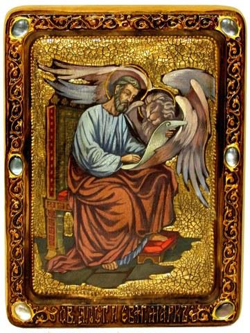 Инкрустированная живописная икона Святой апостол и евангелист Марк 29х21см на натуральном дереве в подарочной коробке