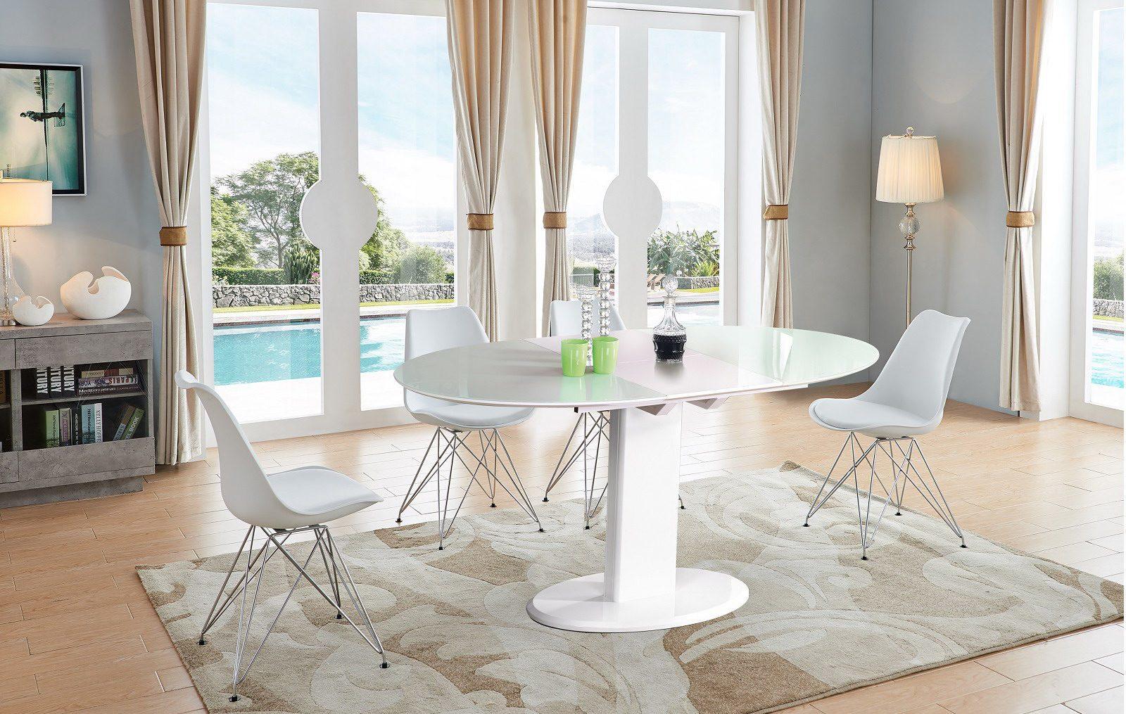 Стол ESF B2396 белый (овальный) и стулья PM072G белые