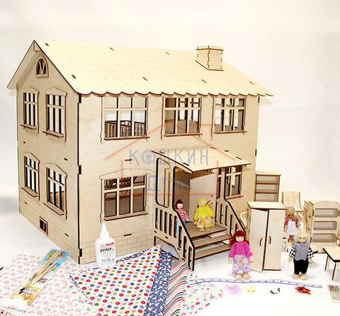"""Деревянный конструктор """"Кукольный домик"""" с мебелью и набором кукол"""