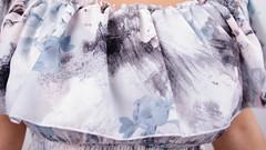 Ксения. Нежный сарафан больших размеров. Цветы на сером.