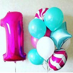 Воздушный шар (40''/102 см) Цифра, 1, Фуше, 1 шт.