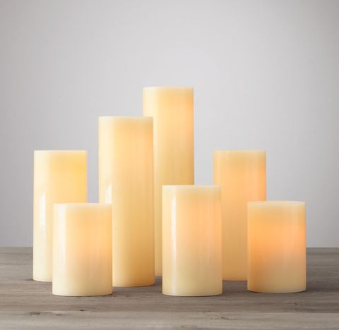 Battery-Operated Wax Flameless Pillar Candles (Set of 7)