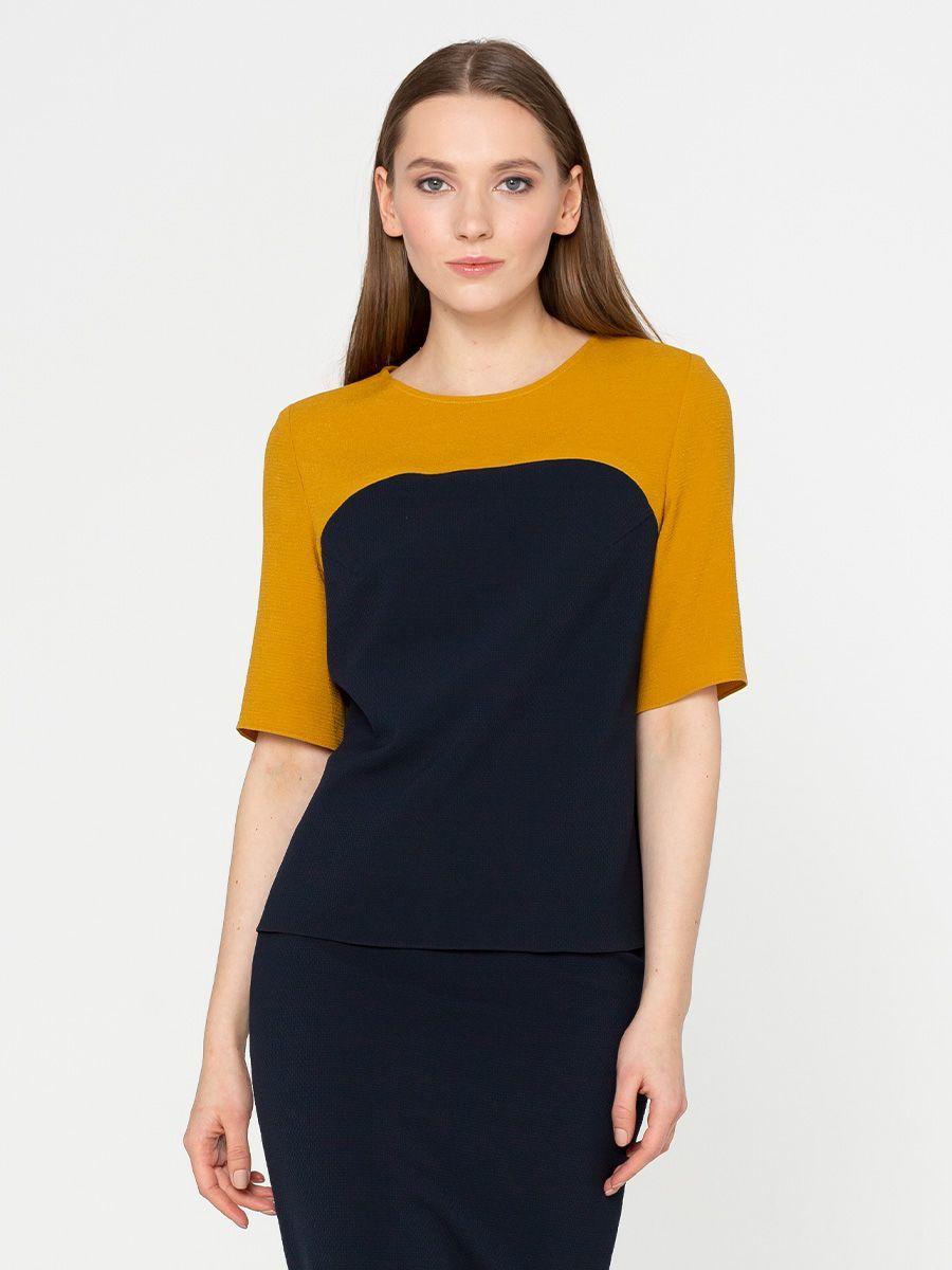 Блуза Г581-110 - Блуза свободного силуэта из комбинированных тканей двух цветов. Прекрасный вариант в офис и на каждый день!
