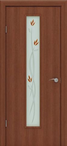 Дверь Сибирь Профиль Ветка (С-17ф) фьюзинг, цвет итальянский орех, остекленная