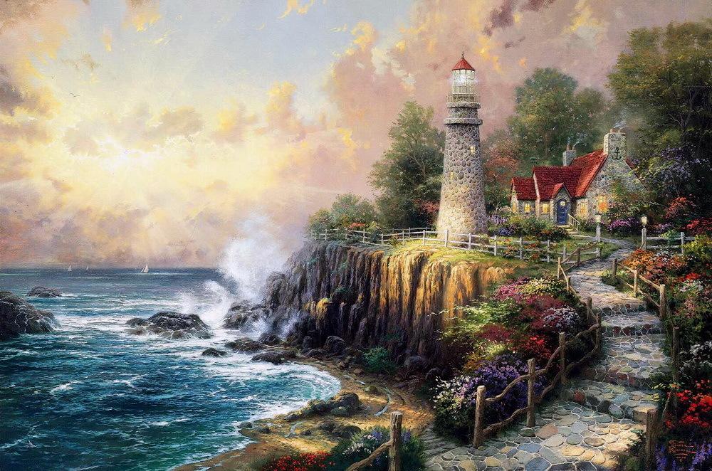 Картина раскраска по номерам 40x50 Дом с маяком на берегу ...