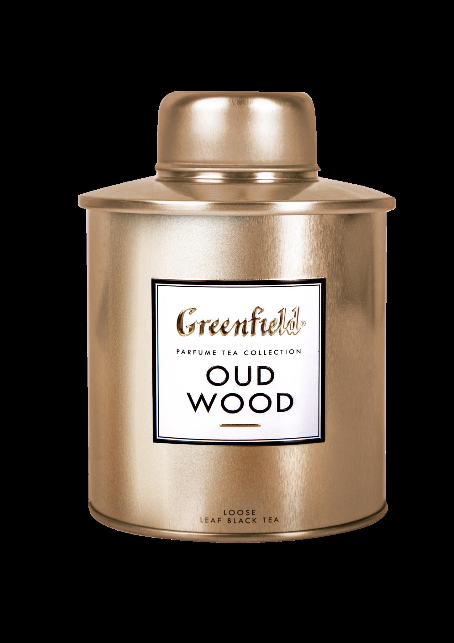 Greenfield ГРИНФИЛД Подарочный набор. Уд Вуд с ароматической свечой, чай черный листовой в жестяной банке
